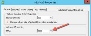 Configuring the vSwitch for Jumbo Frames