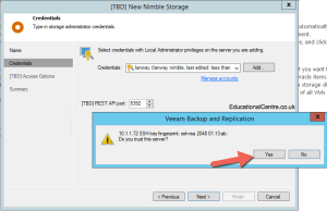 Adding Nimble Storage to Veeam - New Nimble Storage - Confirm SSL Thumbprint