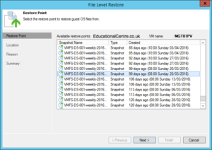 Veeam and Nimble Storage Integration - Restoring from Snapshot - Guest Files - Select Snapshot
