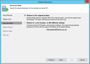 Veeam and Nimble Storage Integration - Restoring from Snapshot - Instant VM Recovery - Choose Recovery Mode