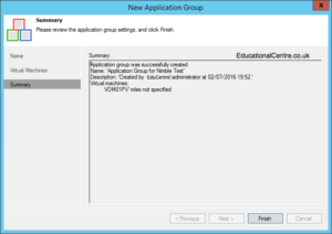 Veeam and Nimble Storage Integration - SureBackup - Application Group - Summary