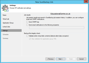 Veeam and Nimble Storage Integration - SureBackup - Create SureBackup Job - Job Settings