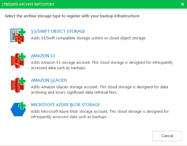 Veeam v10 Scale Out Repository Archive Tier Amazon S3 Glacier Azure