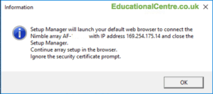 Nimble Setup Manager Launch web browser to connect to SFA