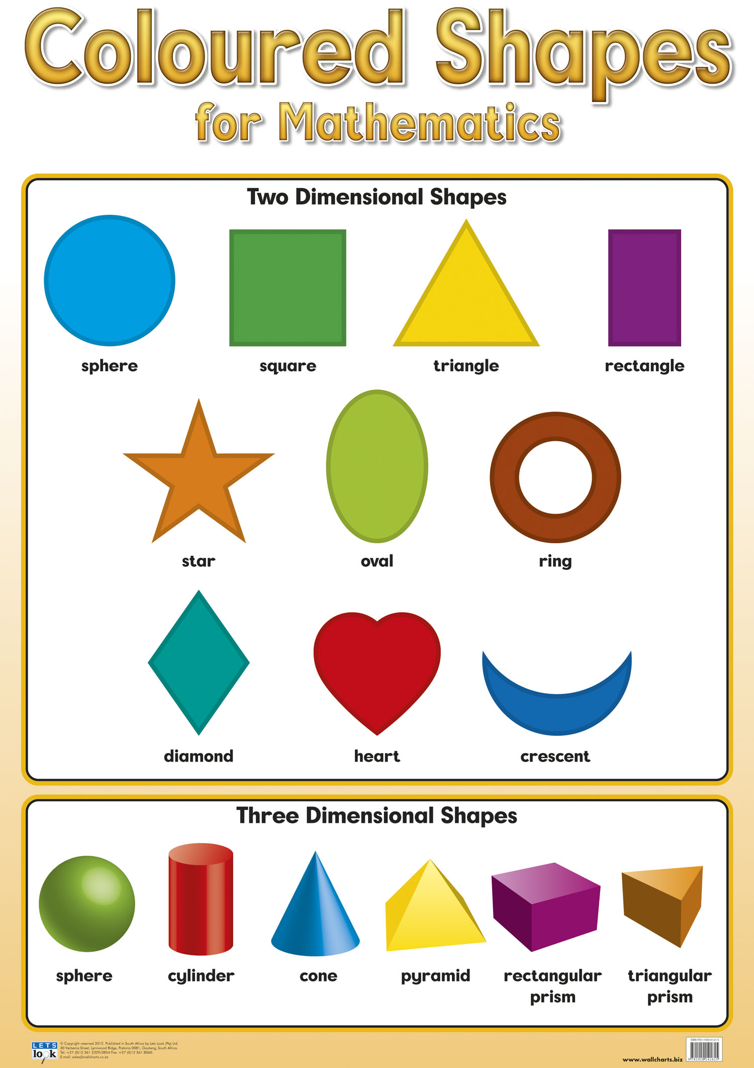 Coloured Shapes Chart Laminated 76cm X 52cm