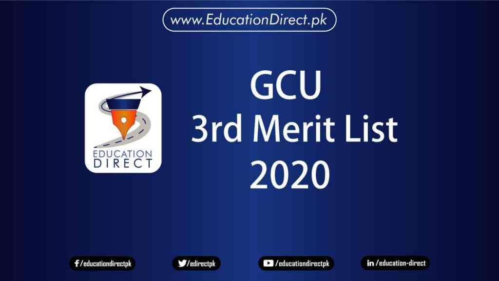 Gcu-3rd-merit-List-2020-Intermediate