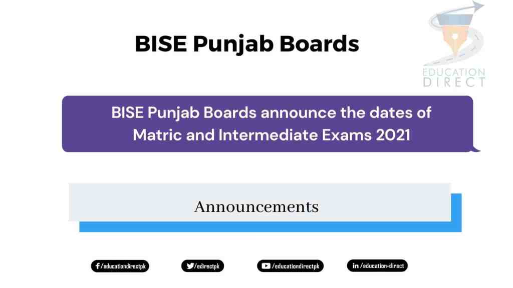 BISE Punjab Boards announce the dates of Matric and Intermediate Exams 2021