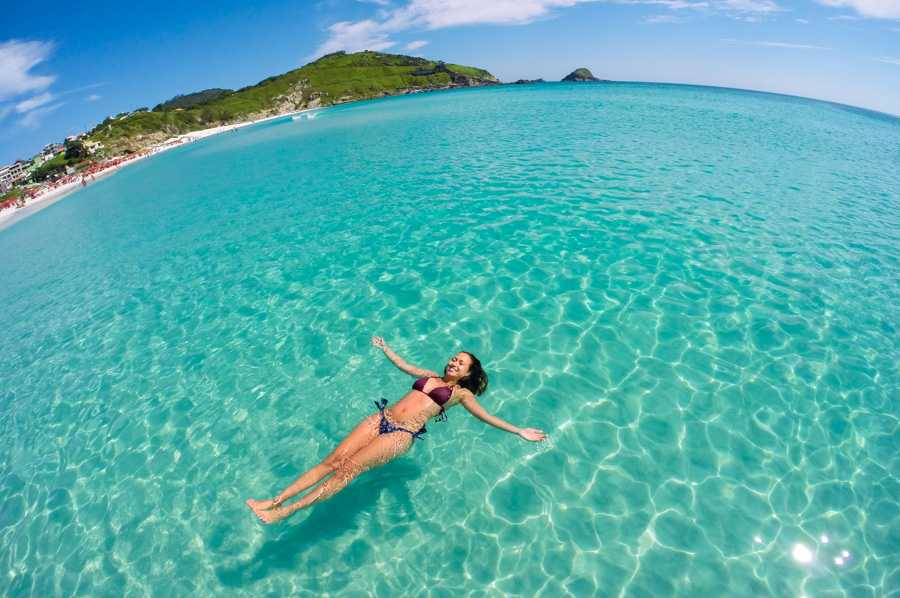 girl in crystal clear water