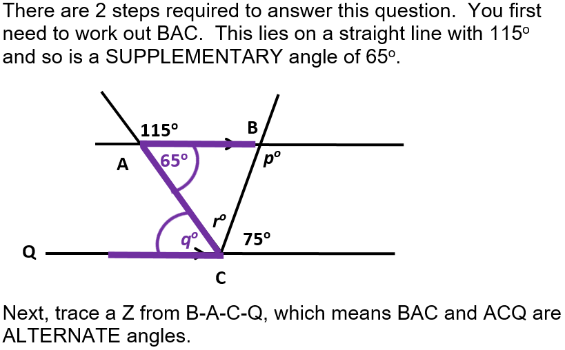 GCSE angles  spaces between two lines measured in degrees