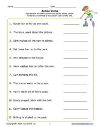 All Worksheets  Action Verbs Worksheets - Printable ...