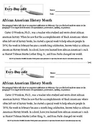 Every Day Edit African American History Month Printable Education World