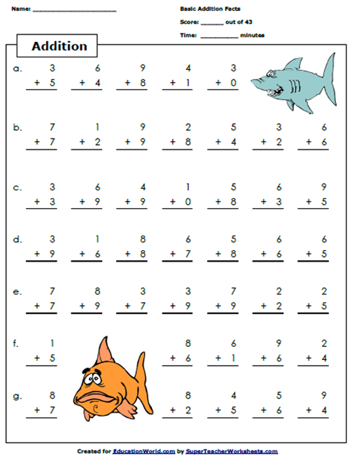 Super Teacher Addition Worksheet