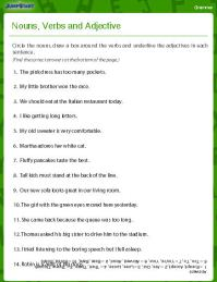 Nouns, Verbs and Adjectives Worksheet - Download ...