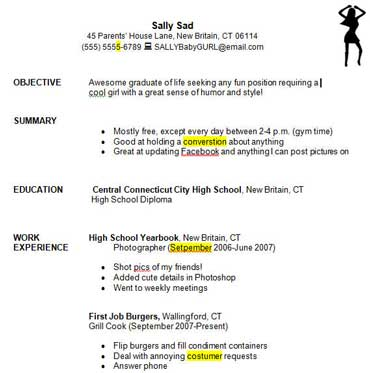 good resume examples for high school students - First Time Resume Examples