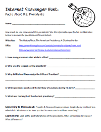 Internet Scavenger Hunt: U.S. Presidents