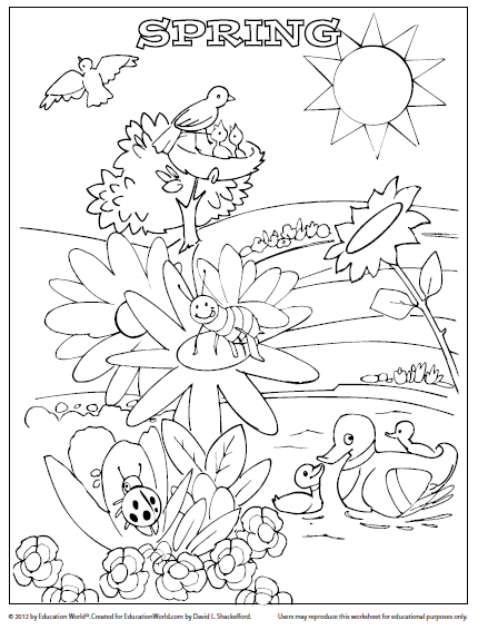 Coloring Sheet Template Spring Education World