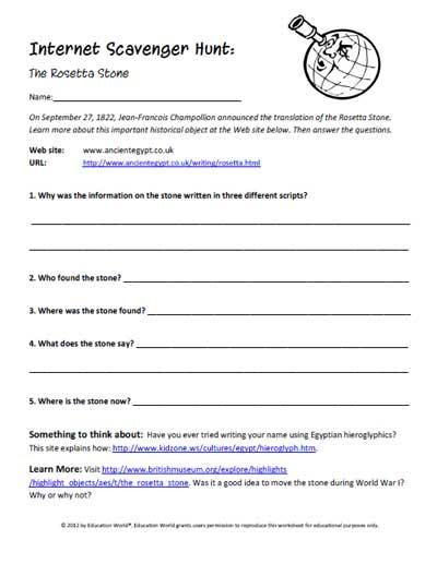 Internet Scavenger Hunt Worksheet. Worksheets