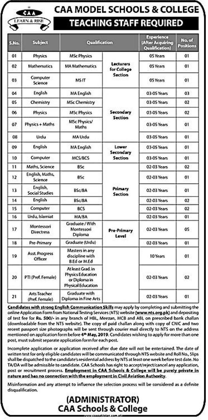 Civil Aviation Authority Jobs 2019 NTS
