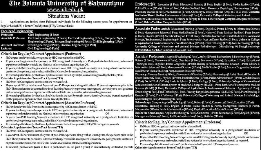 Islamia University Jobs 2019 Bahawalpur