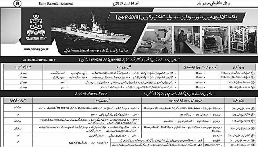 Pakistan Navy Jobs 2019 Online Apply