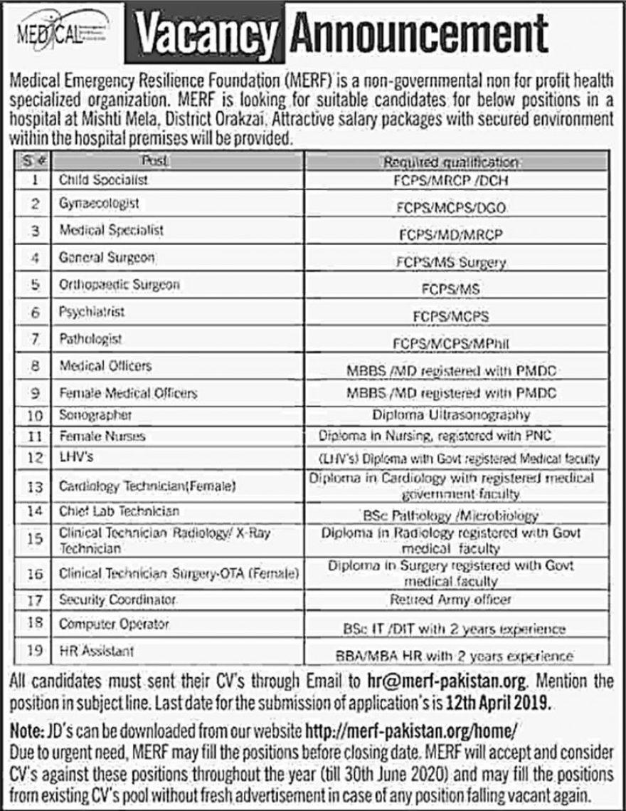 Jobs in Medical Department Pakistan