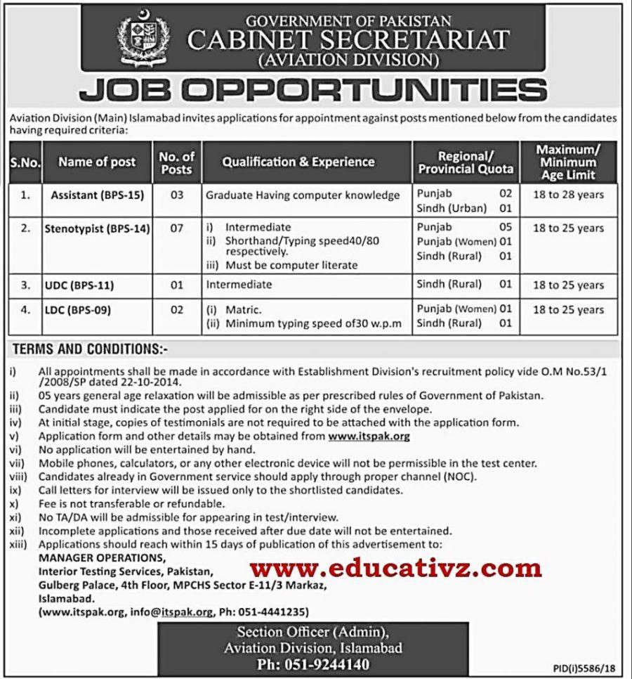 Cabinet Secretariat Aviation Division Jobs