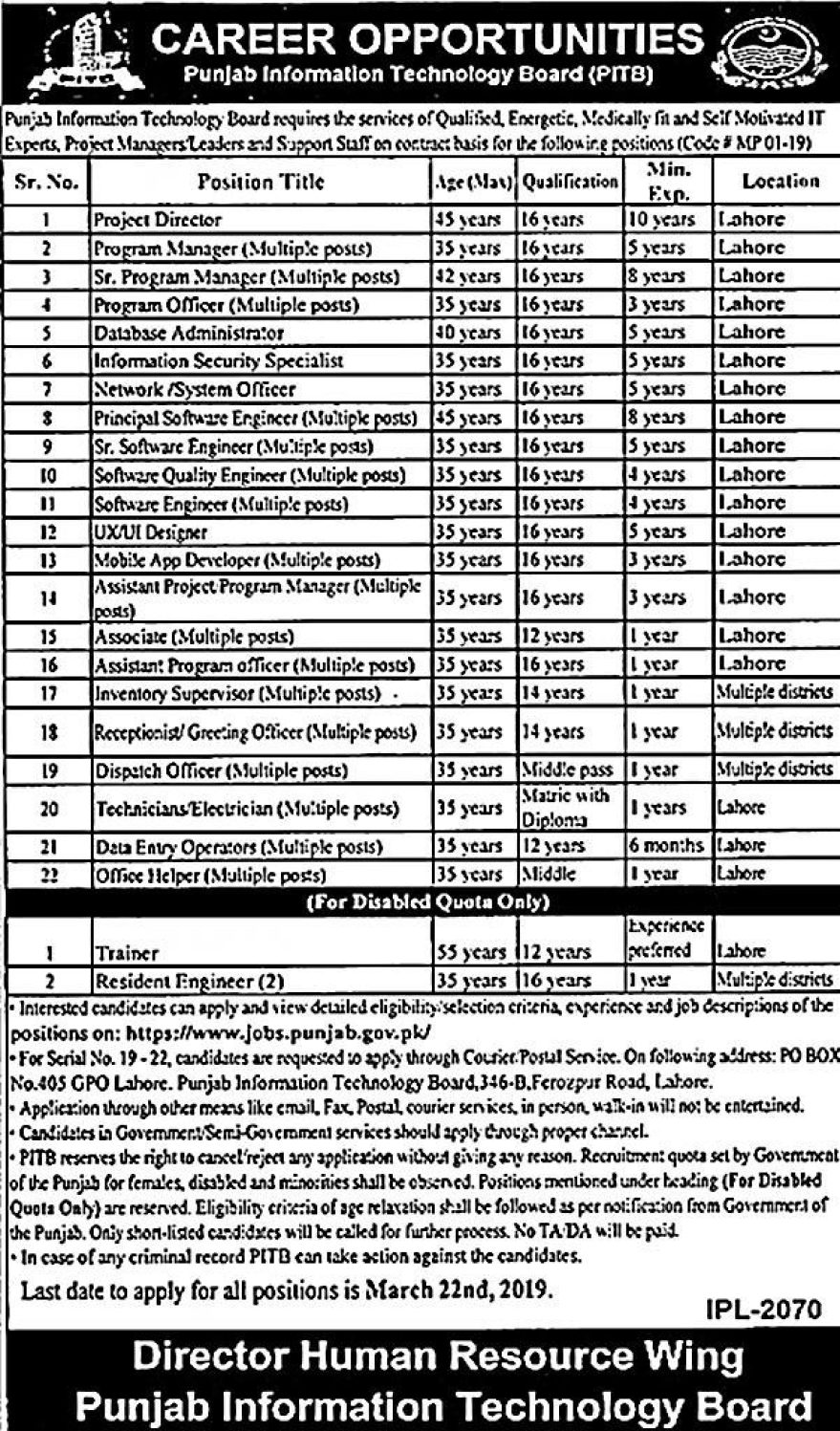 Jobs in PITB Punjab Information Technology     Board