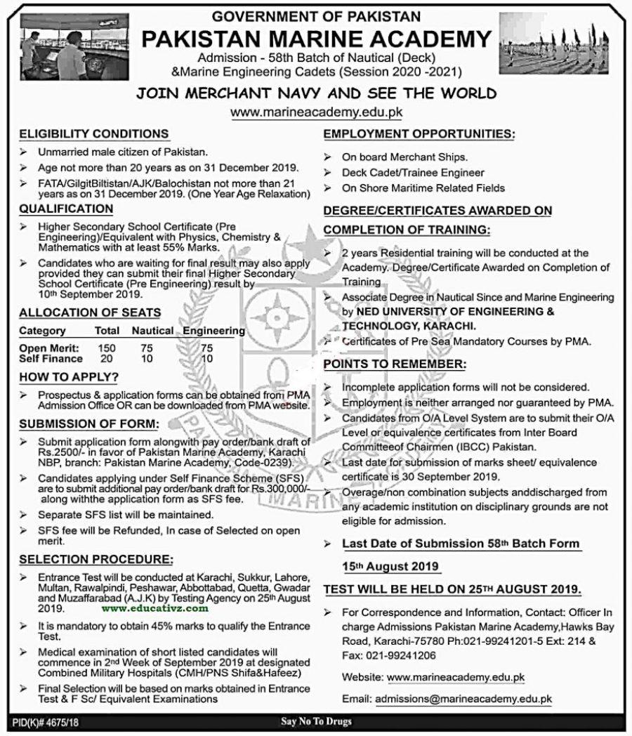 Pakistan Marine Academy Karachi Jobs