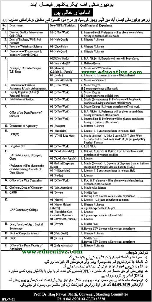 Agriculture University Faisalabad Jobs