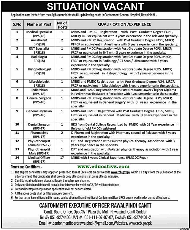 Cantonment General Hospital Pindi Jobs