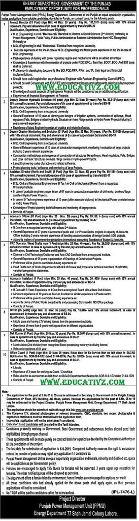 Energy Department Punjab Jobs 2019