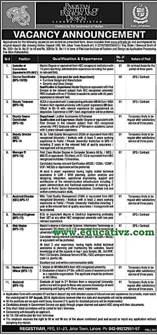 Pakistan Institute Of Fashion Design Jobs Educativz