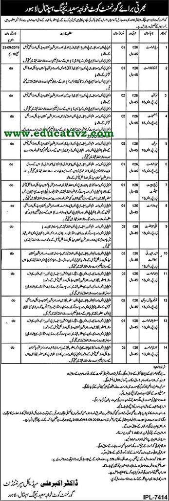 Teaching Hospital Lahore Jobs 2019