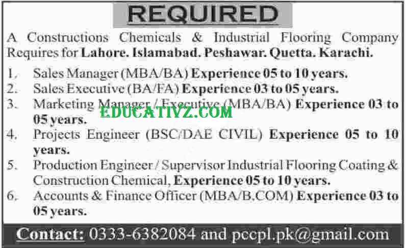 Flooring Company Jobs 2020 in Pakistan for Construction