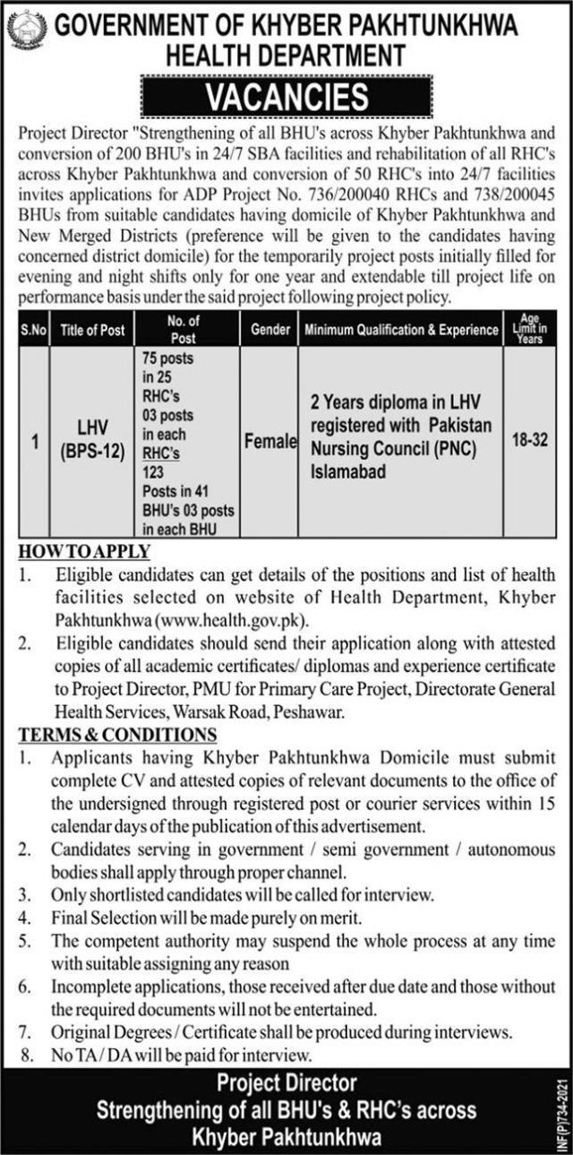 LHV Jobs in Khyber Pakhtunkhwa KPK health.gov.pk