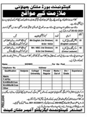 Cantonment Board Multan Jobs 2021 for English Lecturer and Civics Lecturer (Female)