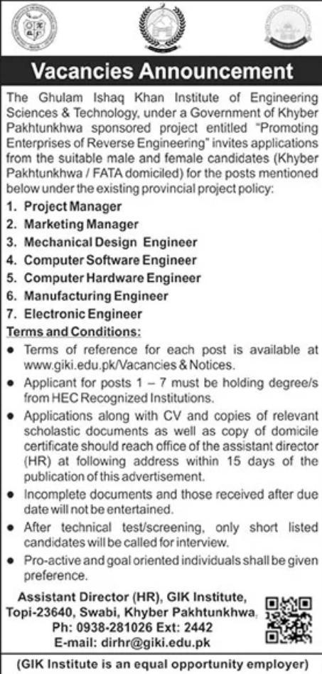 GIK Institute KPK Jobs 2021 Application Form Latest