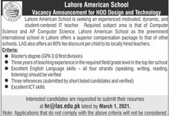 LAS Jobs 2021 Lahore Latest