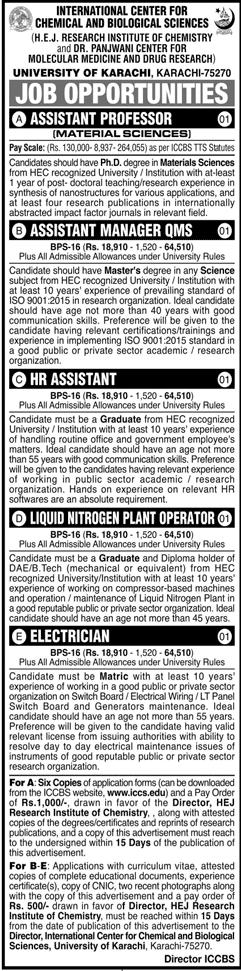 International Center for Chemical & Biological Sciences University of Karachi Jang Jobs February 2021 Latest - Educativz