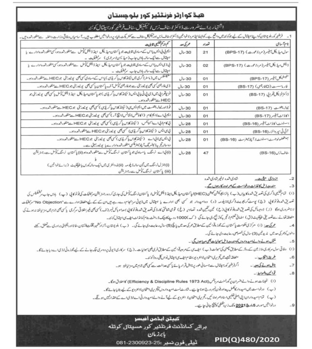 Headquarter Frontier Core Balochistan Jobs 2021 Advertisement for Doctor, Nurses and Medical Staff