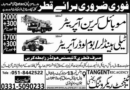 Latest Private Jobs in Qatar - Mobile Crane Operator, Tele Handler/Boom Loader Operator