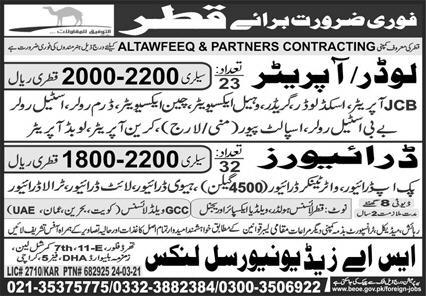 Today Qatar Jobs 2021 - Altawfeeq & Partners Contracting for Loader Operator, Drivers