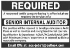 Textile Company Lahore Jobs 2021 for Senior Internal Auditor Latest