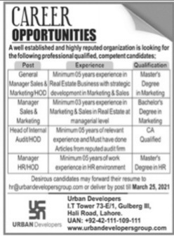 Urban Developers Lahore Jobs 2021 for Managers & HOD Latest