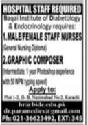 Private Hospital Jobs 2021 Advertisement in Karachi for Nurses (Male/Female), Graphic Composer