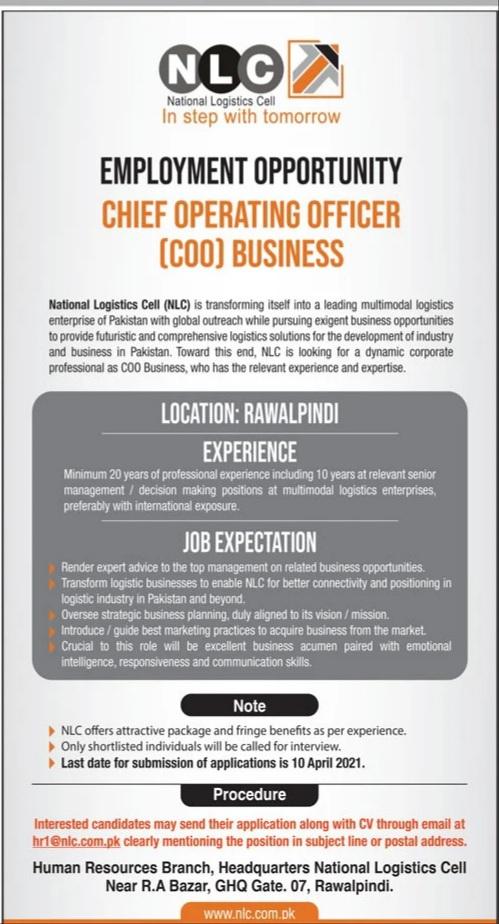 NLC Rwp Jobs April 2021 Advrts