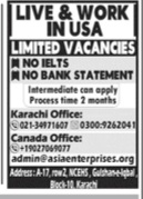 Live work in USA Limited Vacancies jobs advertisement 2021