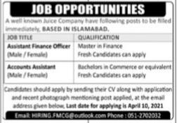 Juice company Jobs Advertisement 2021