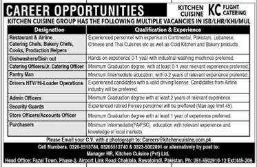 Kitchen Cuisine Pvt Ltd. Jobs 2021 Apply careers@kitchencusini.com.pk Latest