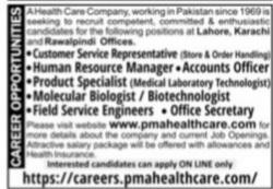 Health Care Company Jobs 2021 Apply Online Latest  Pakistan`